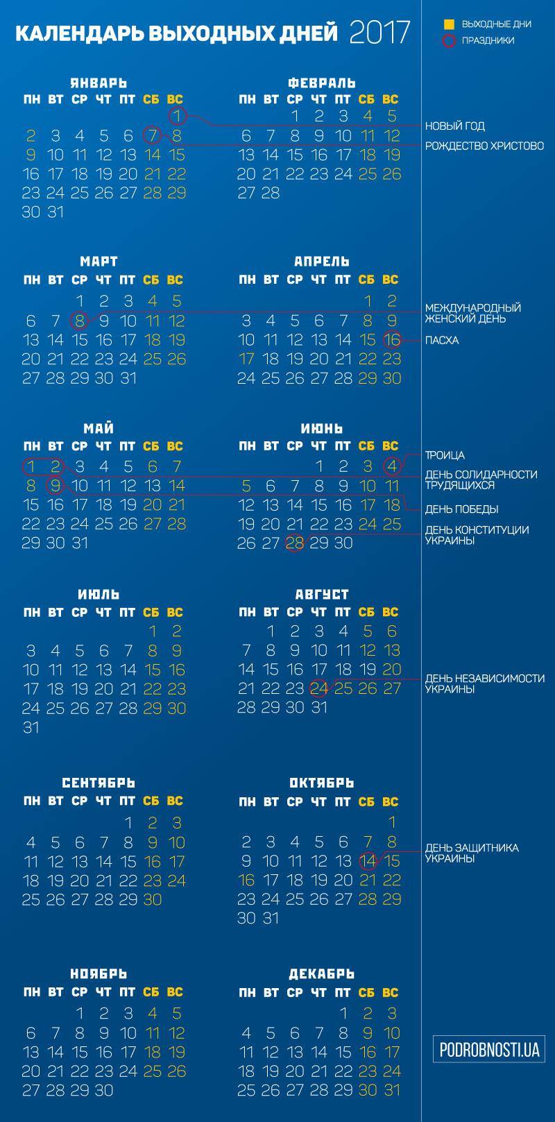 Как переносятся праздничные дни в 2017 году