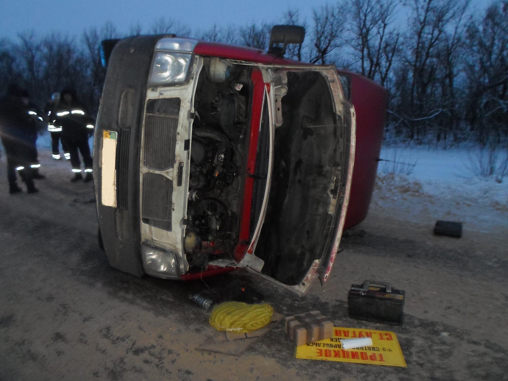 ВЛуганской области перевернулся автобус, 5 человек травмированы