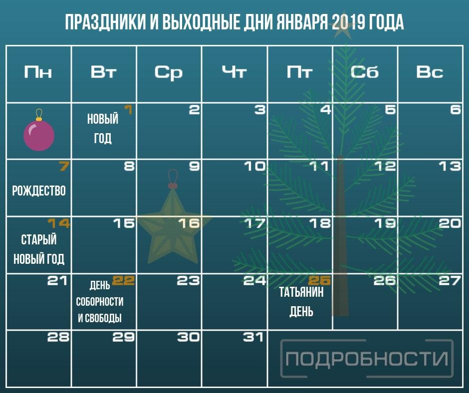 Праздники в январе 2019 года: официальные выходные, календарь
