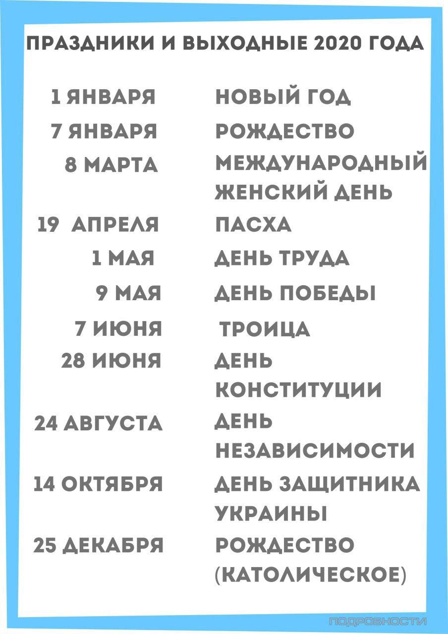 Выходные в 2020 году: сколько будут отдыхать украинцы (инфографика)