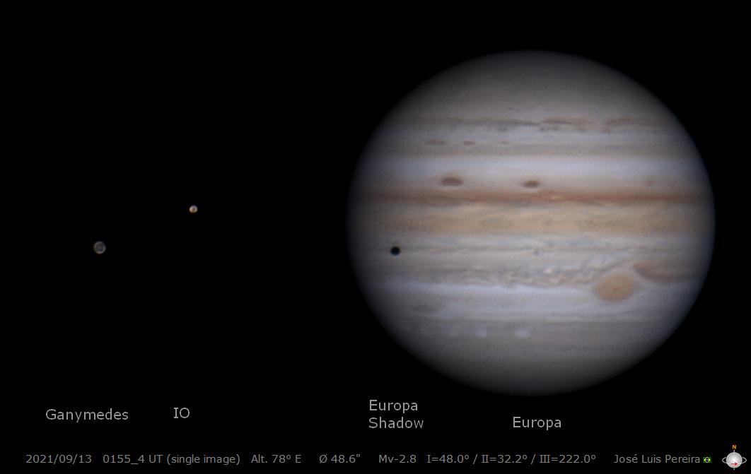 Ударная вспышка в южном полушарии Юпитера