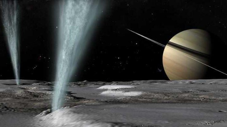 48 километрах над Энцеладом