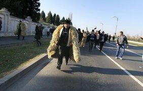 Пастухи в овечьих шкурах ворвались в парламент Румынии. Фото epa.eu