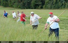 Лукашенко научил Депардье косить. Фото belta.by