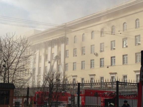 Вмногоэтажном здании Минобороны в столице произошел пожар