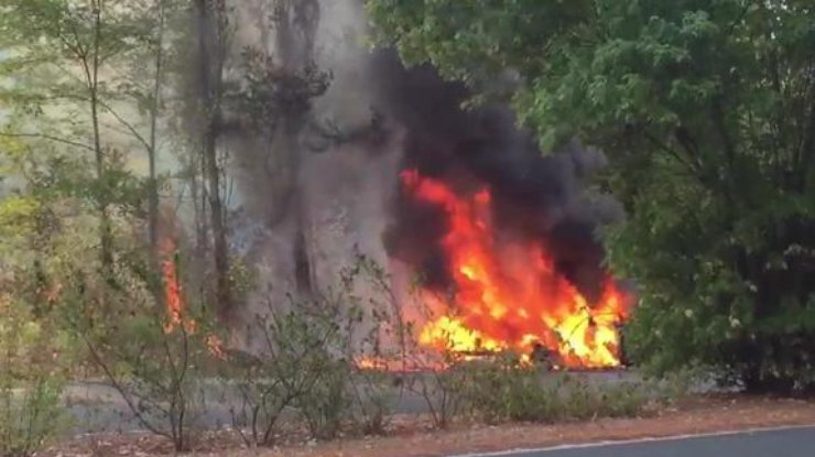 Автомобиль Tesla впроцессе тест-драйва вспыхнул исгорел дотла