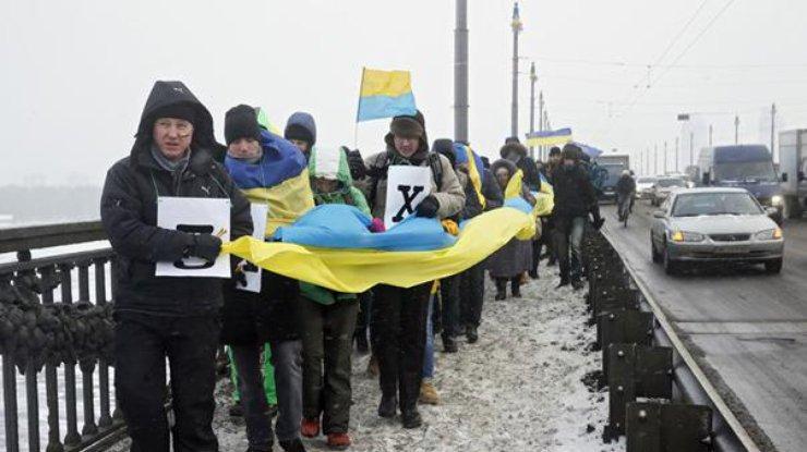 День Соборности Украины: вцентре Харькова активисты выстроились в«живую цепь»