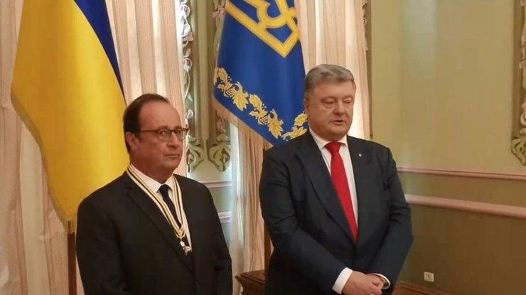 Порошенко вручил Олланду вКиеве орден Свободы