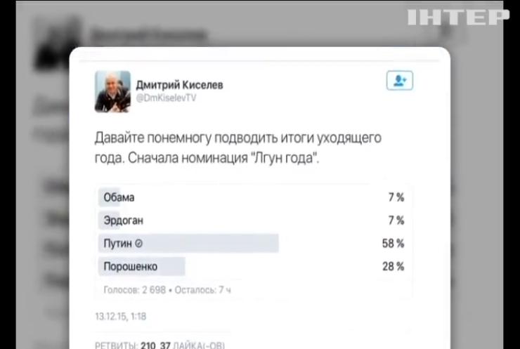 """Путін став """"Брехуном року"""" в опитуванні Дмитра Кисельова"""