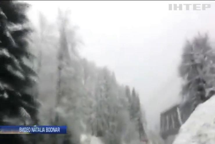 В Закарпатской области пошел мокрый снег