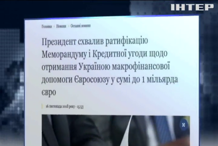 Україна отримає від ЄС мільярд євро макрофінансової допомоги