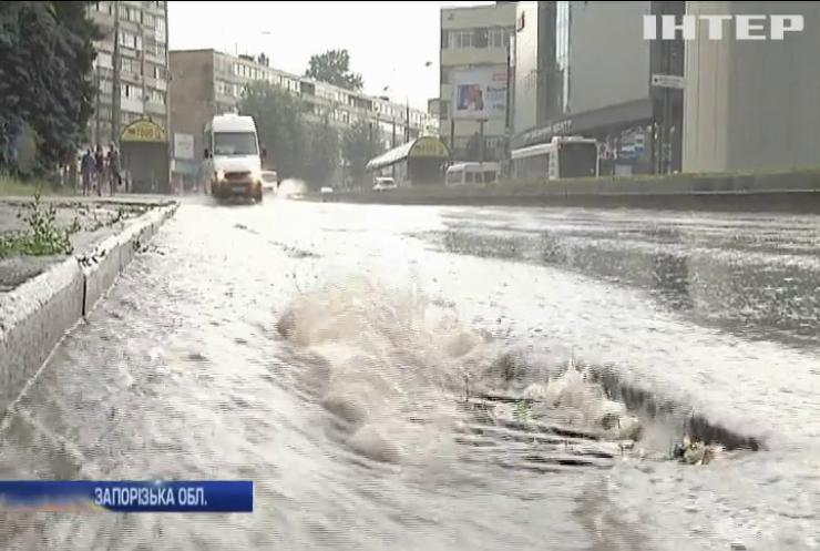 На Запоріжжі потужна повінь змила з дамби пішохода