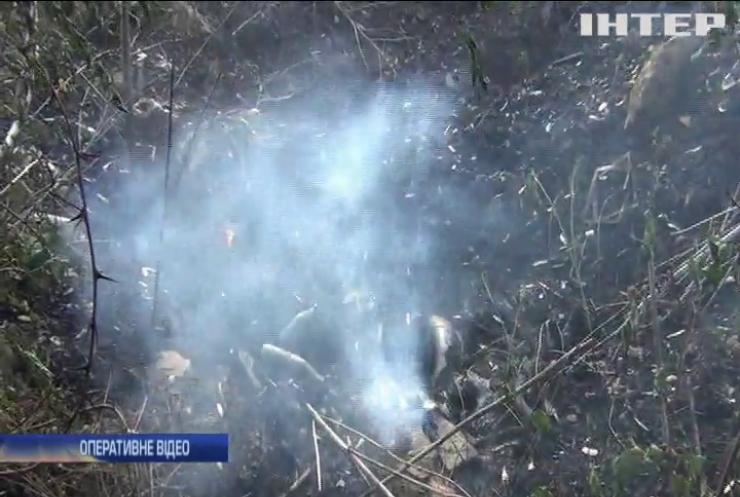 На Черкащині дві доби горить сміттєзвалище