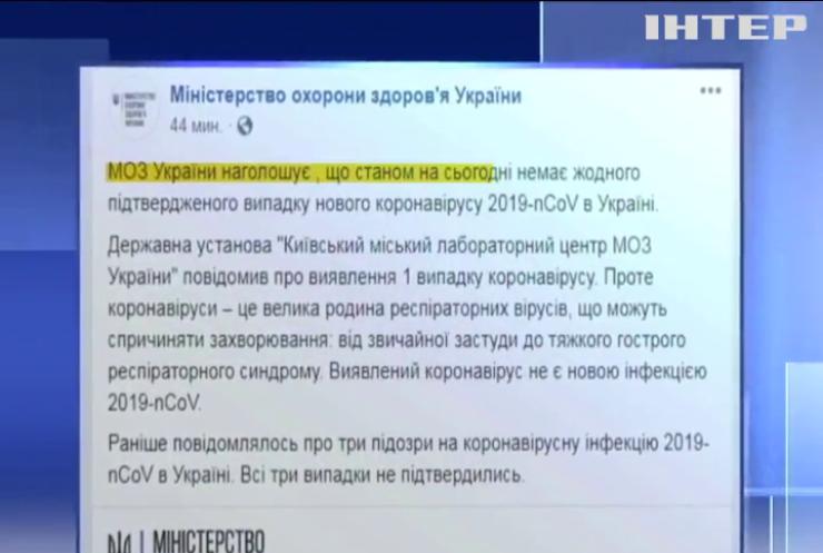 Мінохорони здоров'я не зафіксувало в Україні випадків зараження китайським коронавірусом