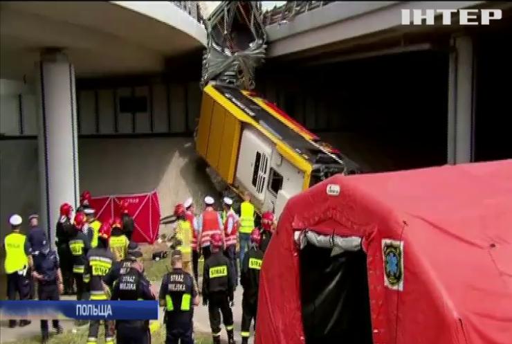 Масштабна аварія у Варшаві: автобус упав із мосту