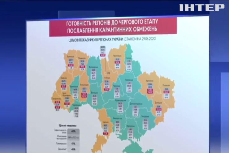 У Кабміні показали карту регіонів, що готові до послаблення карантину