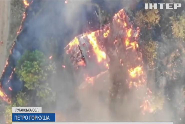 Масштабні пожежі не вщухають на Луганщині