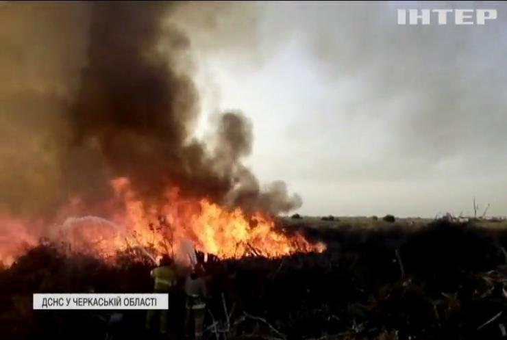 У Черкасах згоріло комунальне звалище із гілками
