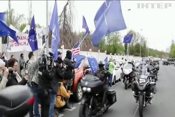 """У Чехії зустріли """"Нічних вовків"""" протестами"""