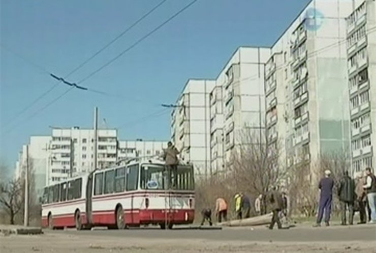 В Черкассах на троллейбус упал электрический столб