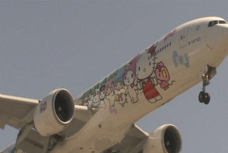 Самолет с Hello Kitty приземлился в Лос-Анджелесе