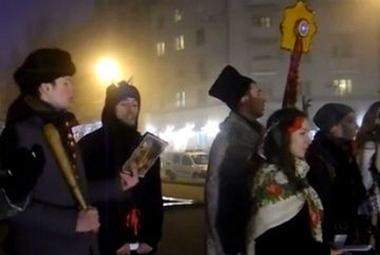 Донецкие евроактивисты устроили рождественский вертеп