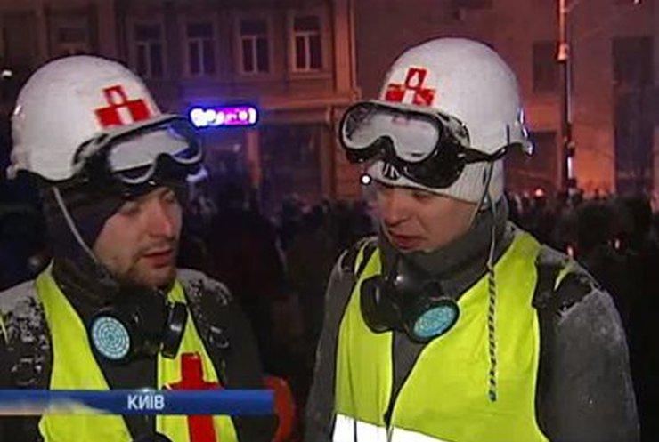 Ночь на улице Грушевского прошла относительно спокойно