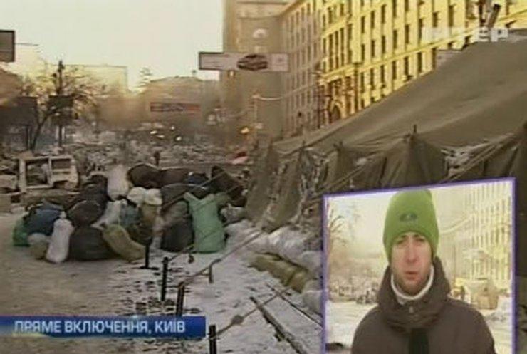 Активисты на Грушевского из-за сильного мороза дежурят по три часа