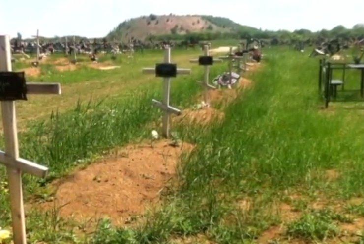 Могилы для боевиков в Донецке спешно вырывали тракторами (видео)