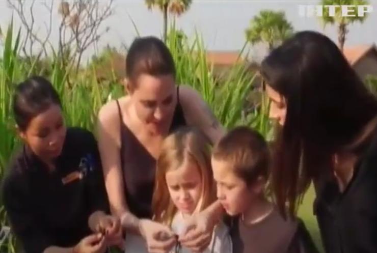 Анджелина Джоли накормила своих детей пауками