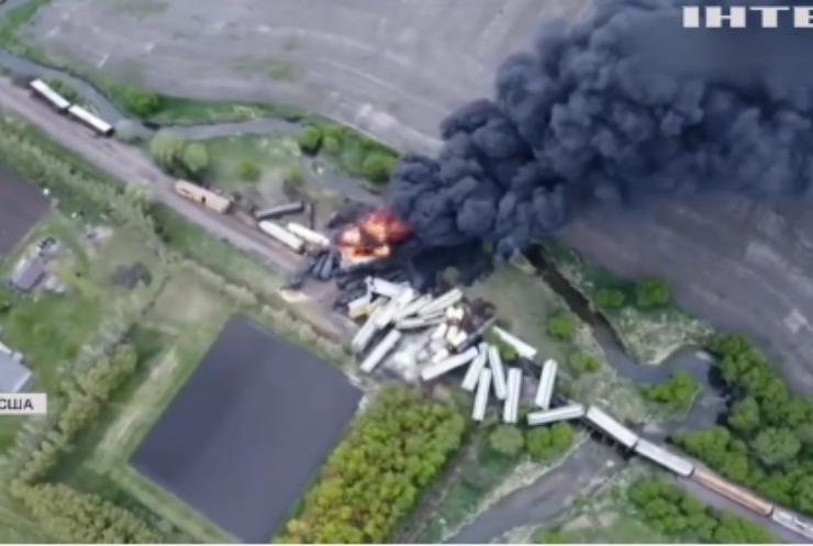 У США потяг зійшов з рейок і загорівся