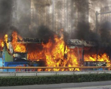 В Китае сгорел автобус с людьми