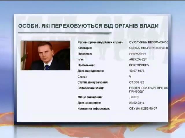 СБУ объявила в розыск Александра Януковича (видео)