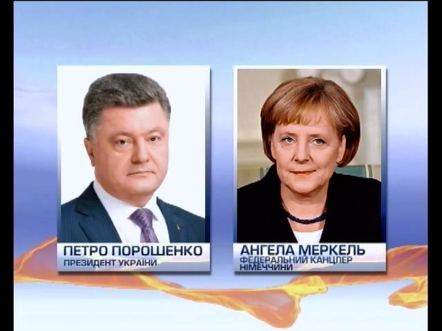 Меркель i Порошенко обговорили мирний план врегулювання конфлiкту на сходi (видео)