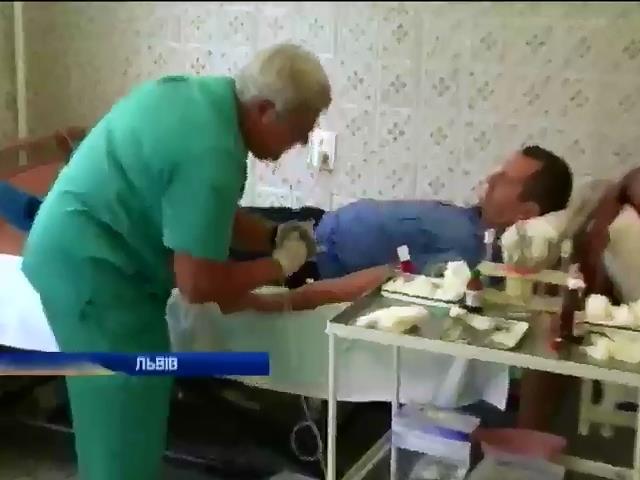 Мiлiцiонери зi Львiвщини здали кров для поранених бiйцiв (видео)