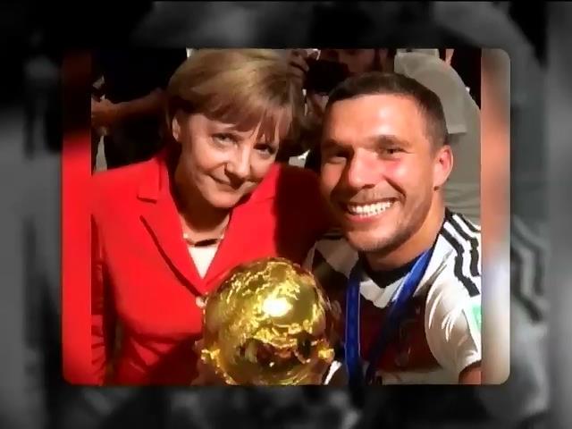 Меркель вместе с футболистами отпраздновала победу сборной Германии (видео)