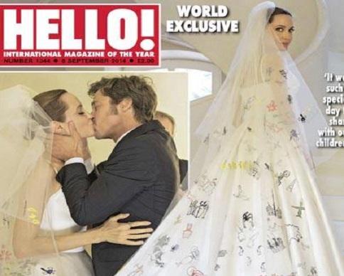 Джоли показала экстравагантное свадебное платье, в котором вышла замуж за Питта (фото)