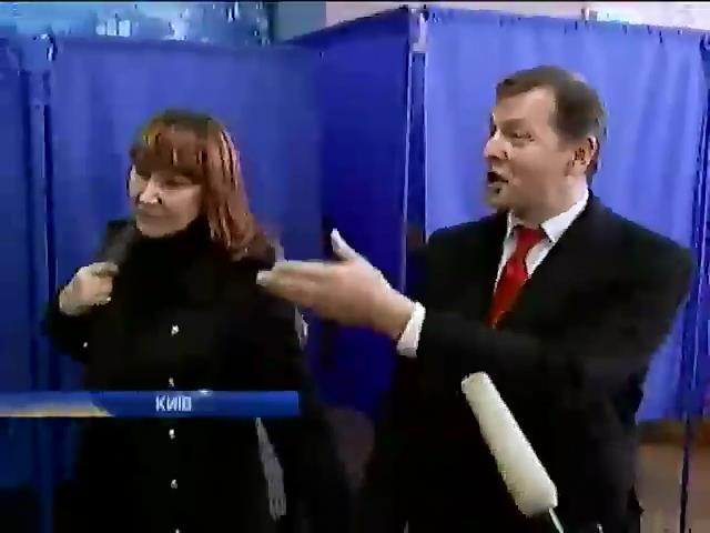 Ляшко на виборчiй дiльницi посварився з журналiстами з Росii (видео)