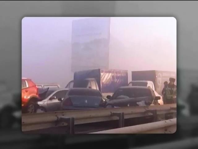 На виiздi з Киeва зiштовхнулися 14 автiвок (видео)