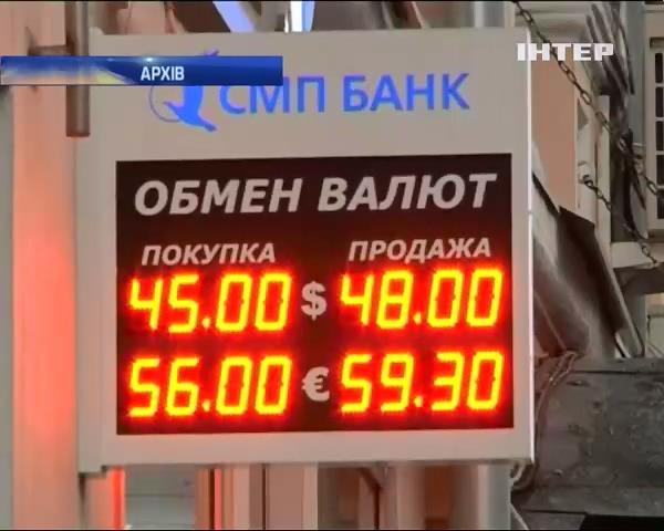 Рубль продовжуe падати: 46 за долар (видео)