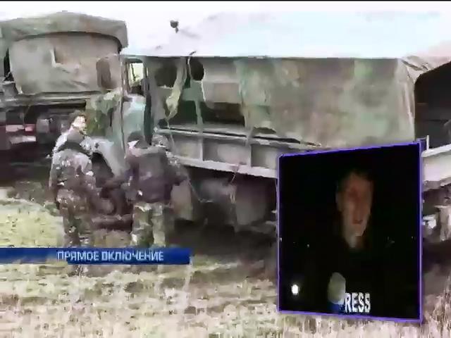 В Луганской области террористы подорвали грузовик с военными (видео)